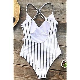 - 51033b8PezL - CUPSHE Women's Stay Young Stripe One-Piece Swimsuit Beach Swimwear Bathing Suit