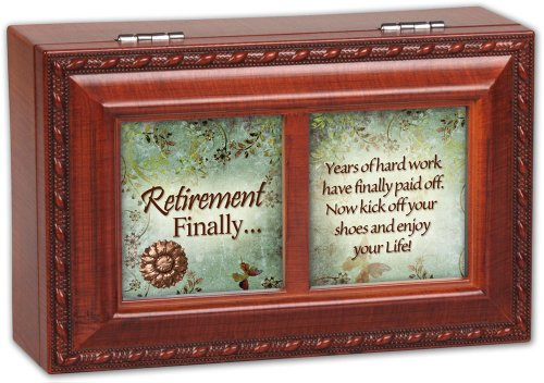 Cottage Garden Retirement Finally Woodgrain Petite Music Box/Jewelry Box Plays Wonderful World