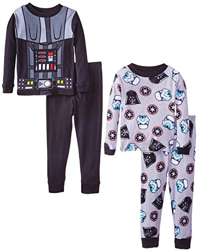 Star Wars Little Boys' Vader Costume 4-Piece Pajama Set, Black, -