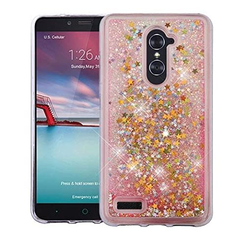 [World Acc] For ZTE ZMAX Pro Case / Z MAX Pro Case / Carry Z981 Case / Blade X Max Case Hybrid Quicksand Liquid Glitter TPU Phone Cover (Stars & Pink Quicksand Glitter (Zte Zmax Phone Case Pink Hybrid)