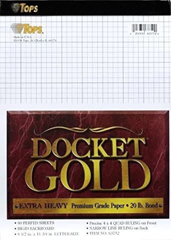 TOPS Docket Gold Planning Pad with Cover, 8-1/2 x 11-3/4 Inches, Perforated, White, Project Rule (4 x 4 Front, Narrow Back), 80 Sheets per Pad - Graph Pad