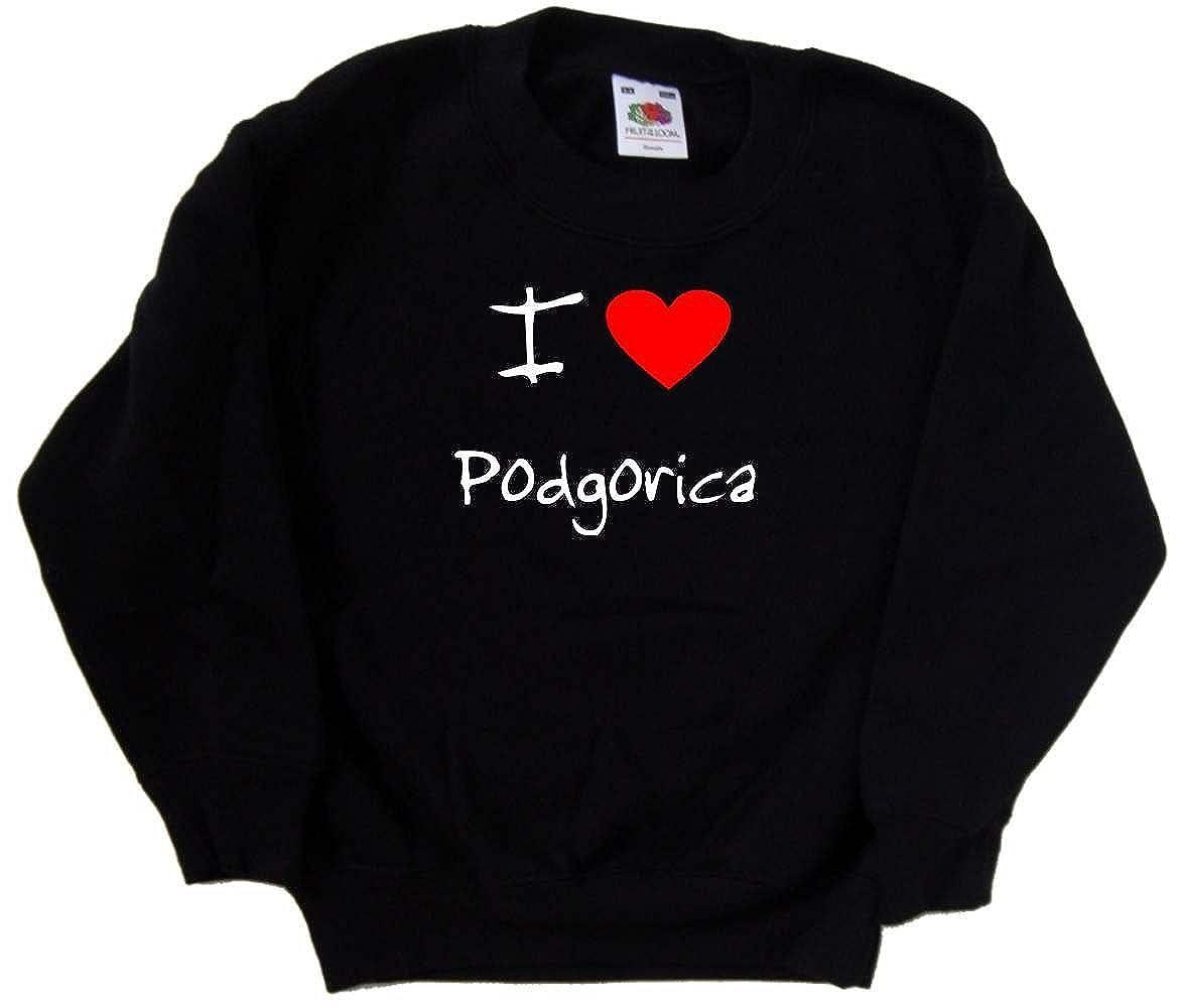 I Love Heart Podgorica Black Kids Sweatshirt