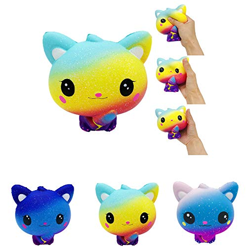 LtrottedJ Colourful Galaxy Cat Scented Charm Slow Rising Squeeze Stress Reliever Toy (A) (Therapy Bench Galaxy)