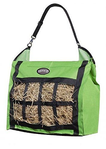 Showman Nylon Slow Feed Hay Tote Bag Heavy Duty and Durable Easy To Fill and Carry (Lime Green) (Feed Tote Bag)