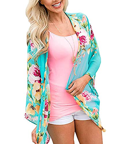 Women's 3/4 Sleeve Floral Kimono Cardigan, Sheer Loose Shawl Capes, Chiffon Beach Cover-Up, Casual Blouse Tops (S-Aqua Blue, X-Large) ()