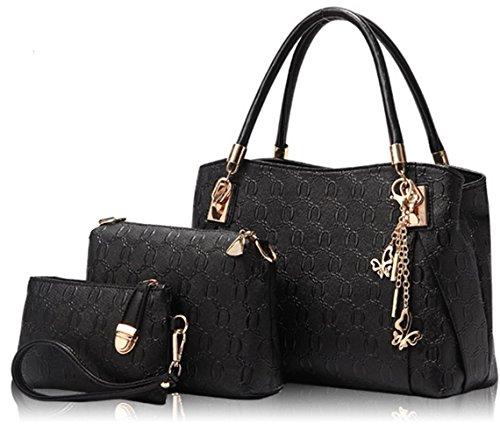 Sacs à main + Sac Bandoulière + Portefeuille Femme PU cuir Poignée supérieure d'impression de fleur de modèle 3Pcs Noir
