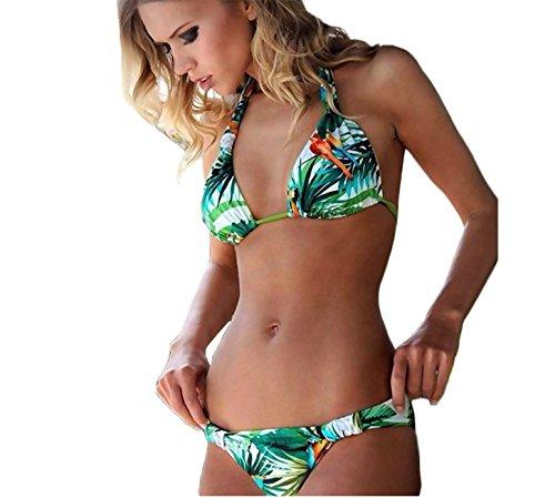 Mujeres Bikinis Piante Conjuntos Push Up Bañador a Colores Impresión Ropa de baño 2pcs Tops + Shorts Pack (Clasico + Paradise)