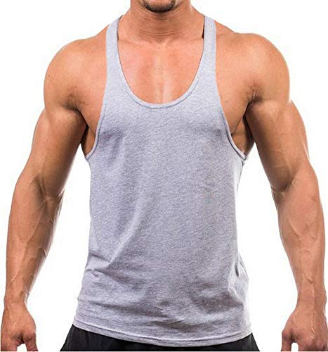 Stringer Workout Tank Tops Mens Y Back 100% Cotton Gray