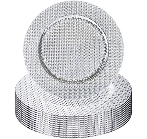 (Simply Home USA 13'' Plate Charger Sliver Weaved Round Premium Finest Quality, Pack Of 12)