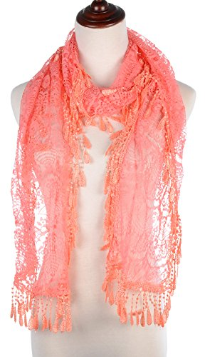 BYOS Womens Delicate Victoria Vintage Inspired Fan Pattern Lace Scarf (Coral) Coral Db Coral