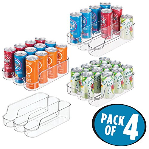 mDesign Small Plastic Kitchen Bin Storage Organizer Rack for