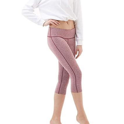 MOTOCO 3/4 Sports Hosen Damen hohe Taille Fitnessstrumpfhosen Yogahosen Größe 38-44