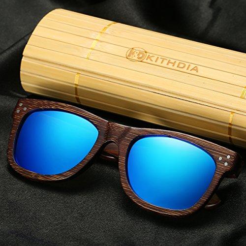 vintage de anteojos de sol de Lentes Bambú Azul de de moda los Gafas espejos de Gafas KITHDIA de Gafas Sol hombres Madera de modelo Polarizadas y sol de madera Gafas aqwH7ZAU