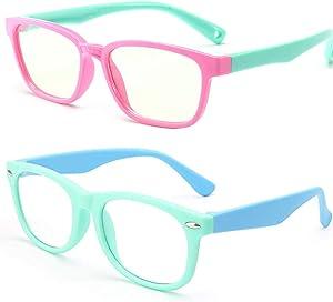 FOURCHEN Kids Blue Light Blocking Glasses, Anti Blue Light Glasses for Kids Computer Gaming TV Glasses Anti Glare & Eyestrain & Blu-ray Filter Glasses (2pk-pinkgreen+ Green Blue)