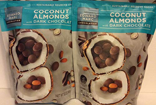 Edward Marc (2 PACK) Dark Chocolate Coconut Almonds, 32 oz. Each Bag