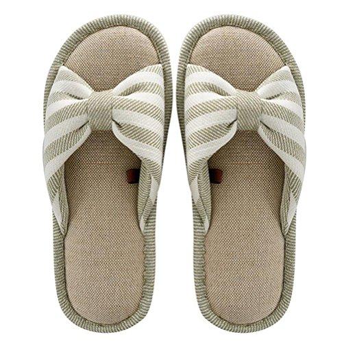 SHANGXIAN Autumn Household Slippers Women/Men Couple Slippers Indoor Soft Bottom Flax Flip Flops,Green,38/39(250Cm) by SHANGXIAN