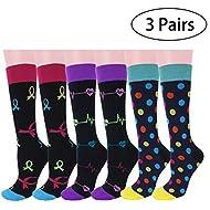 3 Pairs Compression Socks for Women Men15-20 mmHg Best Graduated Womens Mens Compression Stocks for Sports Running Nurses Shin Splints Diabetic Flight Travel Pregnancy