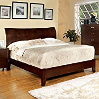 Midland Contemporary Style Brown Cherry Finish Cal King Size Bed Frame Set