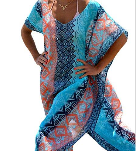 Walant Womens Chiffon Robe Beach Dress Swimsuit Bathing Suits Bikini Cover-ups (L, Blue)
