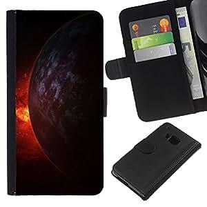 HTC One M9 , la tarjeta de Crédito Slots PU Funda de cuero Monedero caso cubierta de piel ( Fire Universe Planet Burning Cosmos Doomsday)