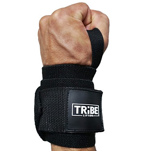 Tribe Lifting 21'' Wrist Wraps for Weight Lifting and Crossfit - Heavy Duty Wrist Support Braces for Men and Women | WOD, Bodybuilding, Powerlifting, Weightlifting | 1 Pair, Black by Tribe Lifting