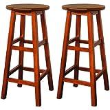 2x Sgabelli Legno di Acacia Marrone Sgabelli alti Sedie per Bar Pub Cucine Stile industriale, rustico e contemporaneo