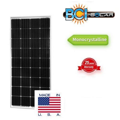 High Watt Solar Panels - BCI Solar 165 Watt 12V Moncrystalline Solar Panel Made in USA High Efficiency Monocrystalline Solar Module