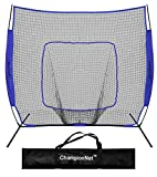 ChampionNet Hitting Net & Frame 7' x 7' Baseball and Softball Practice Net with bow frame - NAVY