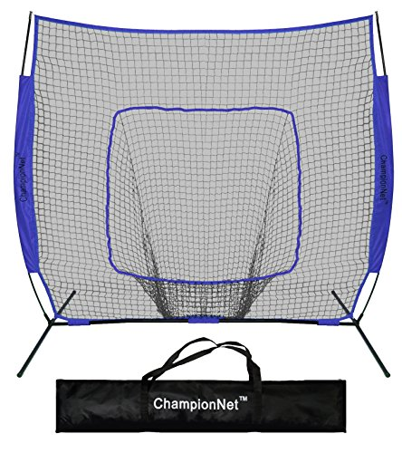 ChampionNet Hitting Net & Frame 7' x 7' Baseball and Softball Practice Net with bow frame - NAVY by ChampionNet
