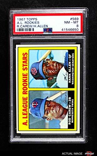 1967 Topps # 569 A.L. Rookies Rod Carew/Hank Allen Minnesota Twins/Senators (Baseball Card) PSA 8 - NM/MT Twins/Senators