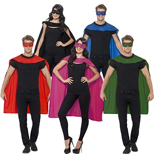 Superheldenumhang & Maske Superheld Kostüm rot Superman Umhang und Augenmaske Helden Kostüm Erwachsene Superhero Karnevalskostüm Superhelden Cape Outfit