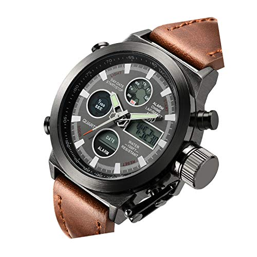 Tamlee Fashion Leather Men's Military Watches Multifunctional Digital Watch Men Sports - Watch Leather Digital