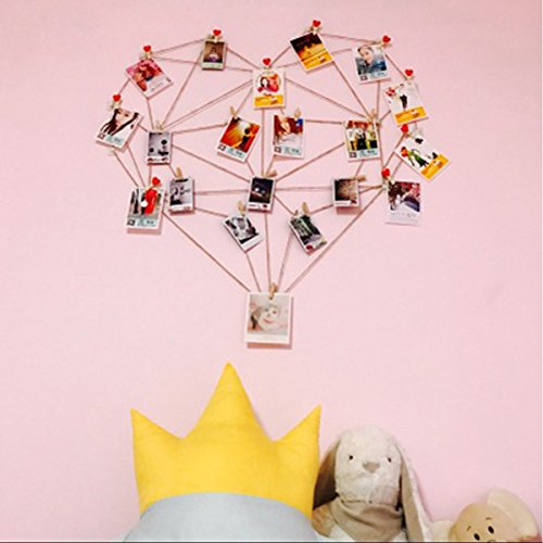 Laugh Cat Diy Picture Frames Heart Shape Collage Set Hemp Rope No Trace Nails Wood Clip Hand Tools For Hanging Photos Wall Decoration