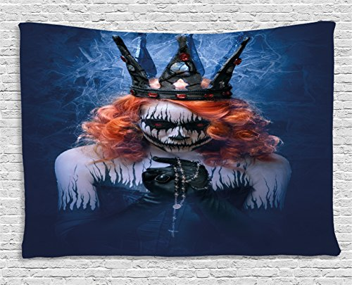 Ambesonne Queen Tapestry, Queen of Death Scary Body Art Halloween Evil Face Bizarre Make up Zombie, Wall Hanging for Bedroom Living Room Dorm, 80 W X 60 L inches, Navy Blue Orange Black