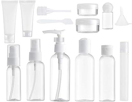 MYLL 14 Piezas Set Botellas de Viaje Accesorios (Max. 100ml) Botella Plastico Avion, Contenedor Dosificador, Envases para Cosmetica, Kit Botes ...