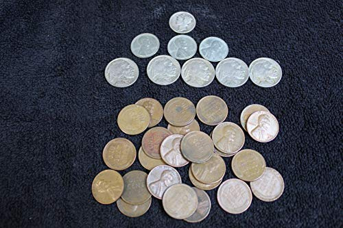 1 American Classics Coin Bag. A total of 34 Coins -- 5 Full Date Buffalo Nickels, 25 Unsearched Wheat Pennies, 3 Steel Cents, and a Silver Mercury Dime - All In a Nice Presentation Velveteen Bag -- The American Coins Collection. 1c, 5, 10c Circulated Condition to Fine