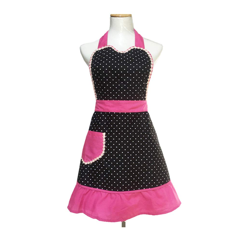 Cute Lovely unique design Women Girls Ladies Retro Apron with Chic Pocket for Cooking Kitchen, Black