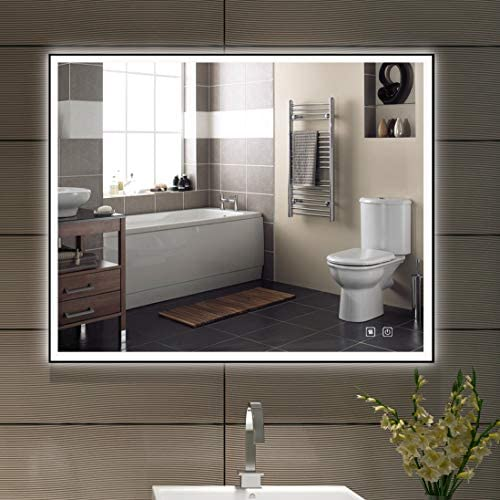ISTRIPMF Bathroom LED Lighted Mirror 32x24 Black Frame Vanity Mirror with Three Light Anti-Fog Waterproof Dimmable Touch Button 3000K to 6000K Horizontal Vertiacl Mirror with Lights for Wall