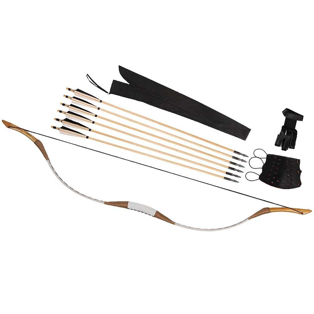 PG1ARCHERY Traditional Recurve Bow, Archery Pigskin Longbow One Piece Handmade Horsebow with Wooden Arrows & Arm Guard & Finger Tab 20lbs
