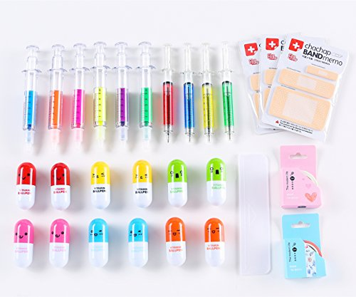 6 Syringe Highlighter Pens, 4 Syringe Pens,12 Capsule Pens, 3 Band Aid Sticky Notes, Cute School Supplies Novelty Pens, Prizes And Giveaway
