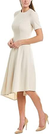 Donna Morgan Womens D6950M Stretch Crepe Asymmetric Hem Fit and Flare Dress Short Sleeve Dress