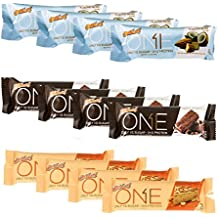 ISS Research Oh Yeah! One Bar Nuts and Chocolate Flavors Protein Bar Variety Pack Bundle Almond Bliss, Chocolate Brownie and Peanut Butter Pie, 4 Pack each (12-Bars)