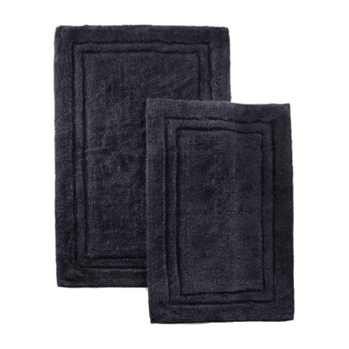 2 PACK Combed Cotton Bath RUG Or Shower RUG CHARCOAL By MARRIKAS