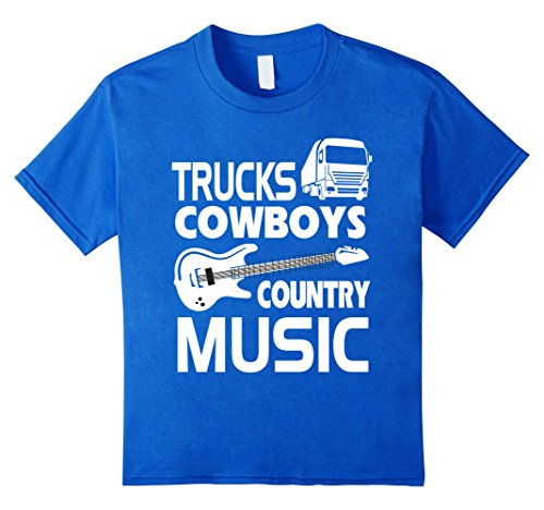 Price comparison product image Kids Trucks Cowboys Country Music T-Shirt 12 Royal Blue