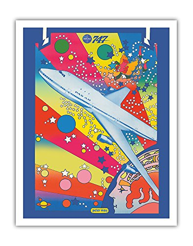 Pan American World Airways - Boeing 747 - Pop Art - Vintage Airline Travel Poster by Peter Max c.1969 - Fine Art Print - 11in x 14in - Peter Max Painting
