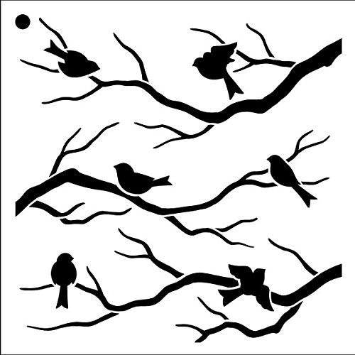 Birds & Branches Stencil by StudioR12 | Reusable Mylar Template | Crafters and Sign Makers can Paint DIY Nature Home Decor - Furniture - Scrapbook- Cards - Choose Size (Furniture Folk Art)