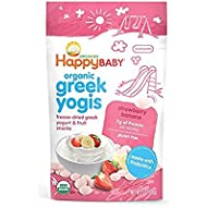 Happy Baby Organic Greek Yogis Freeze-Dried Greek Yogurt and Fruit Snacks, Strawberry/Banana, 1 Ounce (Pack of 8)