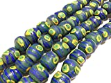 Dark slate Green multi green eye round Krobo powderglass fairtrade African Beads from Ghana