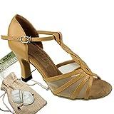 Women's Ballroom Dance Shoes Tango Wedding Salsa Dance Shoes Beige Brown Leather 1692EB Comfortable - Very Fine 2.5'' Heel 8 M US [Bundle of 5]