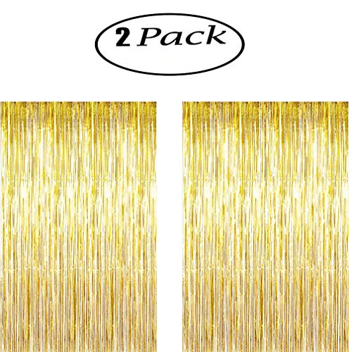 KKONETOY 2 Pack of Large 3.2 ft x 9.8 ft (1M x 3M) Metallic Tinsel Foil Fringe Curtains,Glitter Streamers for Party Photo Backdrop Wedding Decor,Gold Decorations,Highlights for This Product for Party]()